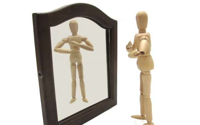 鏡を見る人形